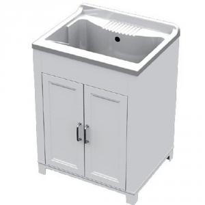 Mobile lavatoio in resina 60x50xh85cm bianco 2 ante vasca in resina