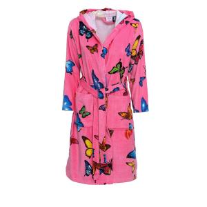 Accappatoio in spugna con cappuccio e cintura NOVIA - Butterfly rosa