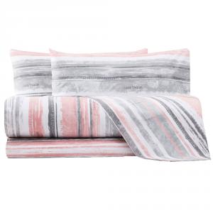 Set lenzuola matrimoniale 2 piazze LAURA BIAGIOTTI Diletta rosa e grigio