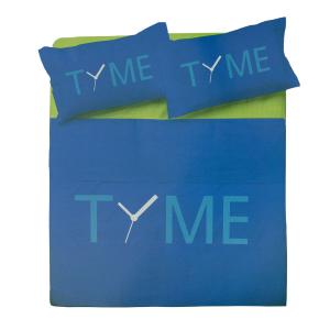 Set lenzuola matrimoniale 2 piazze ZER0BED Time blu puro cotone