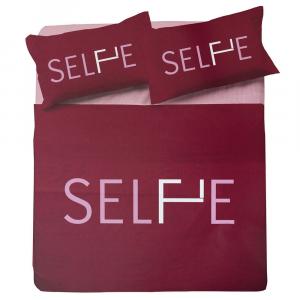 Set copripiumino matrimoniale 2 piazze ZER0BED Selfie bordeaux puro cotone