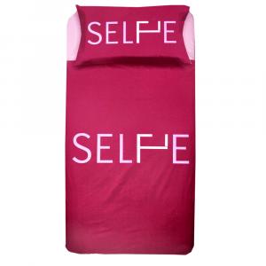 Set copripiumino singolo 1 piazza ZER0BED Selfie bordeaux puro cotone
