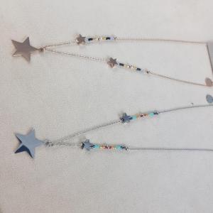 Collana acciaio stella perline vetro