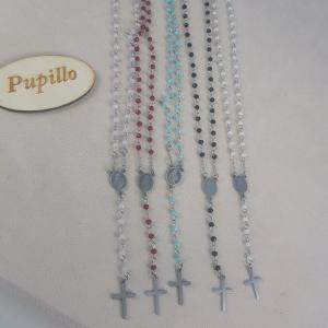 Collana rosario acciaio vetro