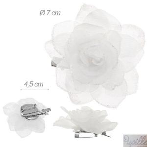 Becco/spilla con Fiore in Tessuto Bianco Glitter 7 Cm