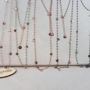 Collana acciaio rosarietto cm70 stelline