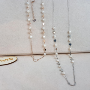 Collanina acciaio perle fiume cuoricino