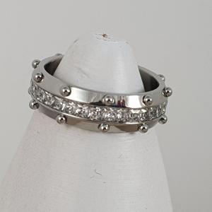 anello acciaio e pallini strass