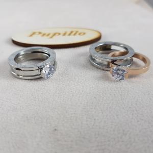 anello doppia fede con zircone