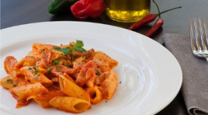 Penne with 'Nduja sausage, PGI Pachino Cherry Tomato sauce and Cave-aged Caciocavallo cheese (serves 6 people)