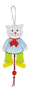 Burattini animali Topo e Gatto in legno gioco arredo camera per bambini.Set da 2