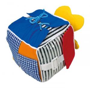 Cubo dado in stoffa colorato, gioco tattile per neonato