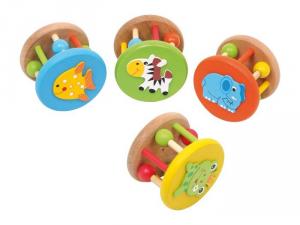 Sonaglio Animali in legno,set da 4.gioco neonato bebè