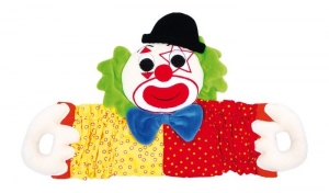 Pagliaccio in stoffa colorato da tirare,giocattolo bambini