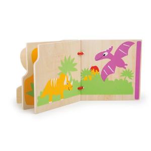 Libretto di legno per motricità bambini I miei primi dinosauri Legler 10107