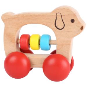 Tattile in legno Cane con rotelle Gioco per neonato