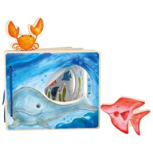 Libro illustrato in legno per neonato Mondo sottomarino interattivo