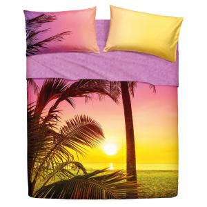 Set lenzuola letto singolo 1 piazza BASSETTI PALM BEACH effetto copriletto