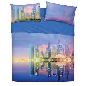 Set lenzuola letto singolo 1 piazza BASSETTI SINGAPORE effetto copriletto