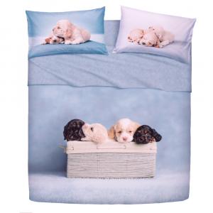 Set lenzuola letto singolo 1 piazza BASSETTI GOLDEN BLUE effetto copriletto