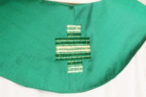 Stola S28 M1 Verde Ricamo Ulivo - Pura Seta