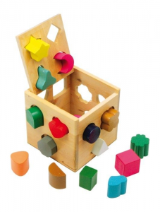 Puzzle/Dado con forme Gioco x  bambini in legno x stimolo motricità