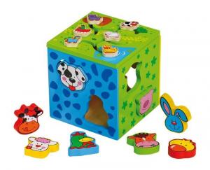Puzzle/Dado 2 in 1 con forme animali Gioco x  bambini in legno