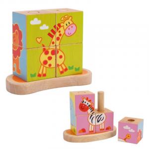 Puzzle/Dado ad incastro animali Gioco x  bambini in legno