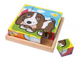 Puzzle 3d a dadi animali domestici in legno motricità bambini