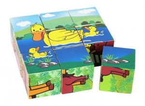 puzzle a dadi fattoria figure animali in legno Gioco bambino/bambina