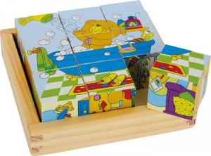 puzzle a dadi orso in legno con vari sfondi Gioco bambino/bambina