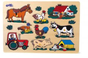 puzzle ad incastro con animali fattoria gioco in legno, Legler 1767