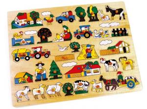 Puzzle ad incastro grande fattoria animali in legno gioco bambino