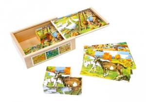 puzzle a incastro12 dadi animali fattoria legno Gioco bambino/bambina