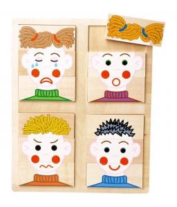 Puzzle in legno facce con smorfie Gioco x bambino/bambina