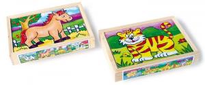 2 scatole in legno con 8 puzzle diversi gioco/giocatolo x bambino/bambina