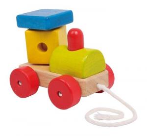 treno locomotiva da tirare 4 ruote in legno Gioco x bambino/bambina