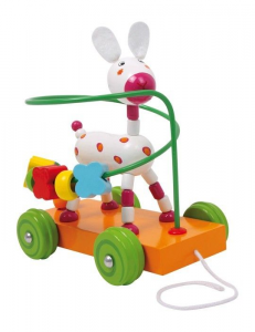 asino/asinello con ruote in legno Gioco x bambino/bambina,motricità