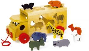Carro dello zoo con animali colorati in legno gioco motricità bambini