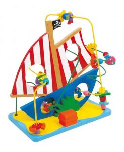 Nave dei pirati in legno Gioco per bambini stimola motricità