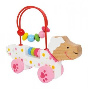 Pecora in legno colorata con perle Gioco x bambini stimola motricità