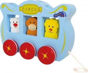 Gioco in legno carrozzone circo da tirare con ruote per Bambini