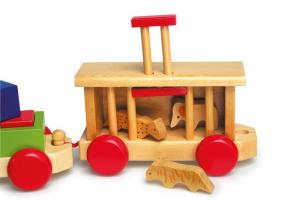 Trenino in legno con vagoni, animali ed accessori, giocattolo per bambini