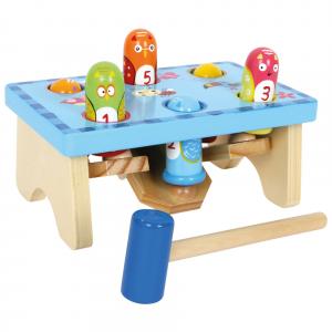Picchia l'uccellino con martello gioco da battere in legno per bambini
