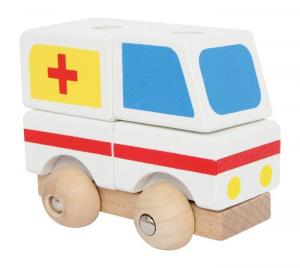 Veicolo di soccorso componibile in legno vari colori. Set da 4.Gioco in legno