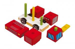 Camion Pompieri con blocchi in legno da costruire,Gioco bambini