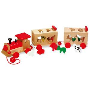 Trenino treno da tirare con animali zoo in legno gioco bambini