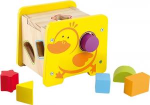 Dado/cubo attività anatra in legno giocattolo tattile per bambini