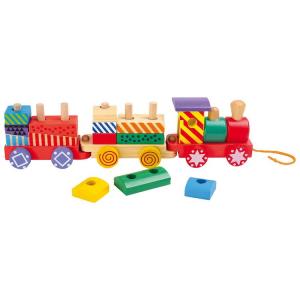 Trenino variopinto con cubetti ad incastro in legno,giocattolo bambini
