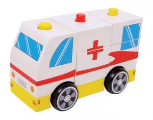 Ambulanza Croce rossa in legno da montare.gioco puzzle per bambini